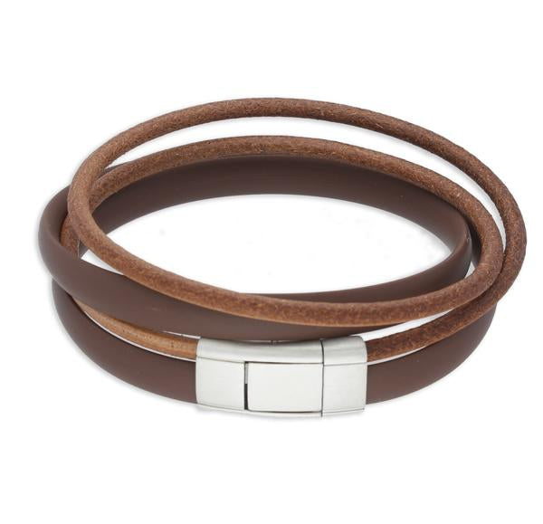 Sinski Brown| Leather and Steel Bracelet