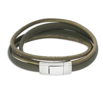 Sinski Green | Leather and Steel Bracelet - Duncan Walton Store