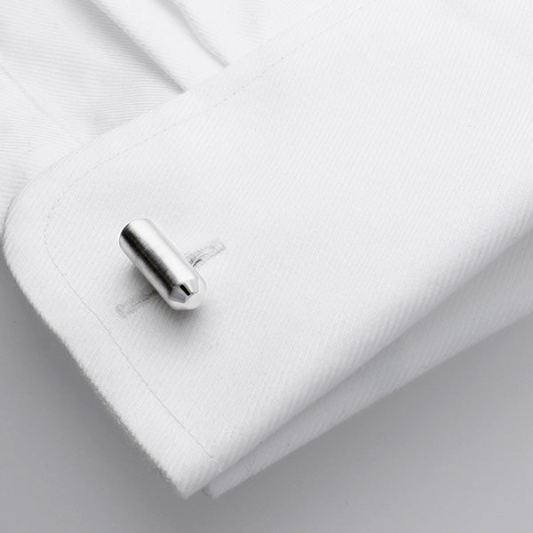 Steve Cufflinks are made in a brushed metal
