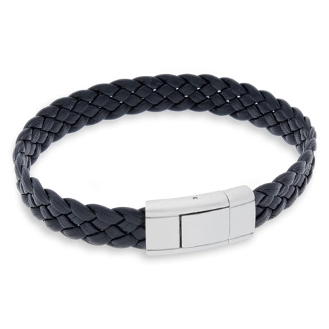 Vella Black | Braided | Leather and Steel Bracelet