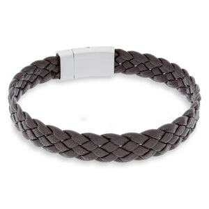 Vella Brown | Braided | Leather and Steel Bracelet - Duncan Walton Store