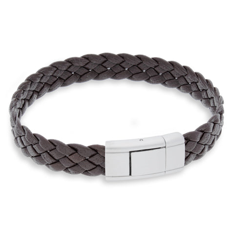 Vella Brown | Braided | Leather and Steel Bracelet