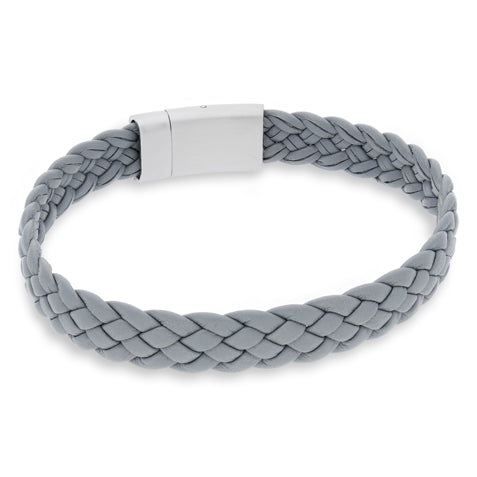 Vella Light Grey | Braided | Leather and Steel Bracelet - Duncan Walton Store