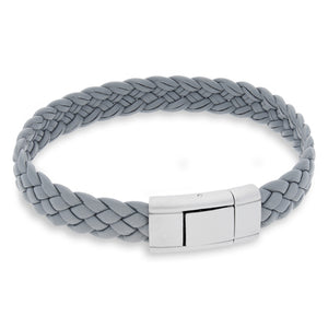 Vella Light Grey | Braided | Leather and Steel Bracelet