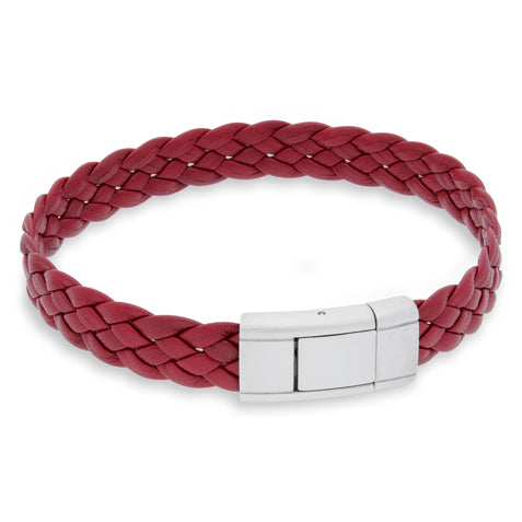 Vella Red | Braided | Leather and Steel Bracelet - Duncan Walton Store