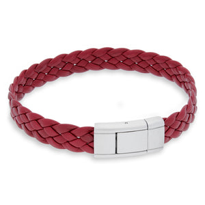 Vella Red | Braided | Leather and Steel Bracelet