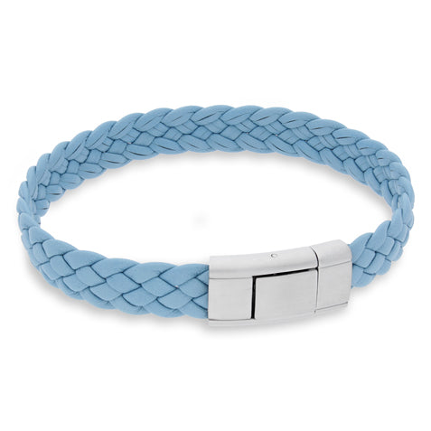Vella Sky Blue | Braided | Leather and Steel Bracelet