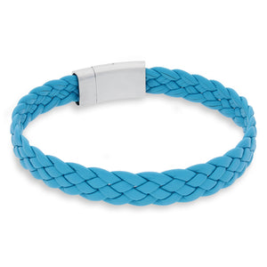 Vella Teal | Braided | Leather and Steel Bracelet