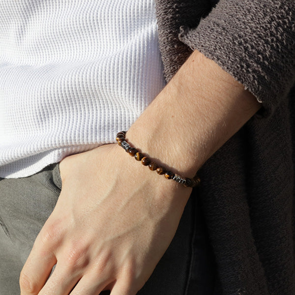 Duncan Walton Wanders Tiger Eye Beaded Bracelet, Luxuriously crafted bracelet in a contemporary design. Made with exquisite Tiger Eye and complemented with modern steel hexagon beads.