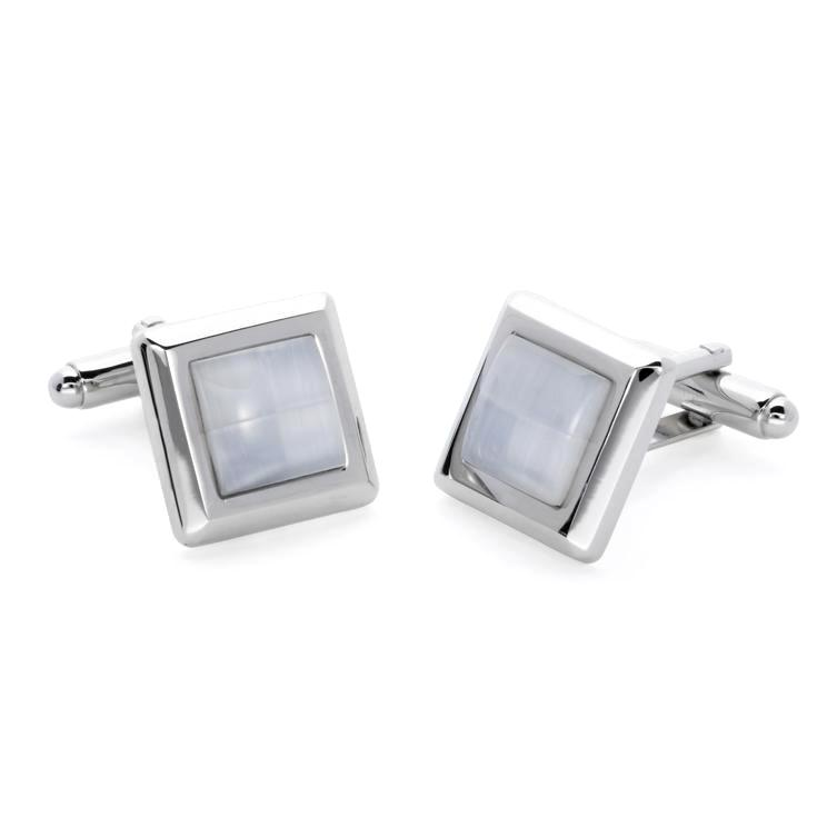 Wilda White | Cat's Eye | Gemstone Cufflinks - Duncan Walton Store