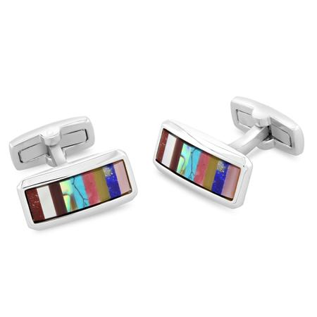 Wright Mixed | Semi Precious Cufflinks | Multi Stone