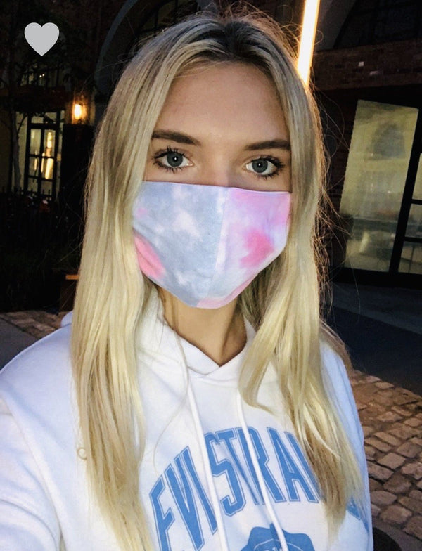 Lt Blue/Pink Tie Dye Mask Masks
