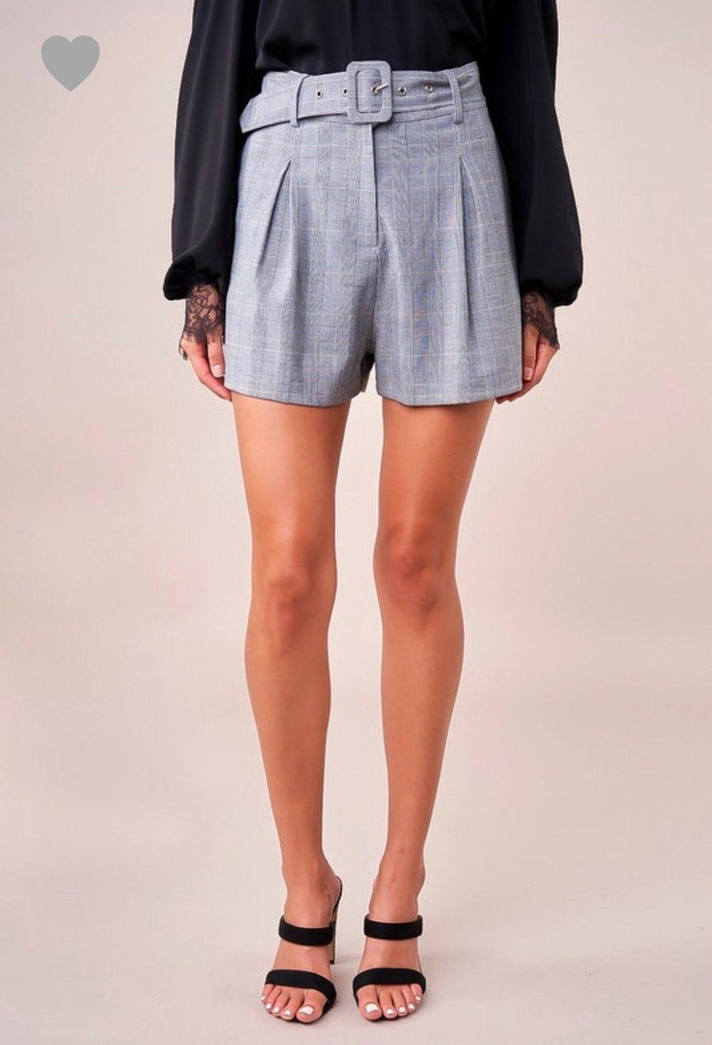 Pleated Plaid Shorts Bottoms