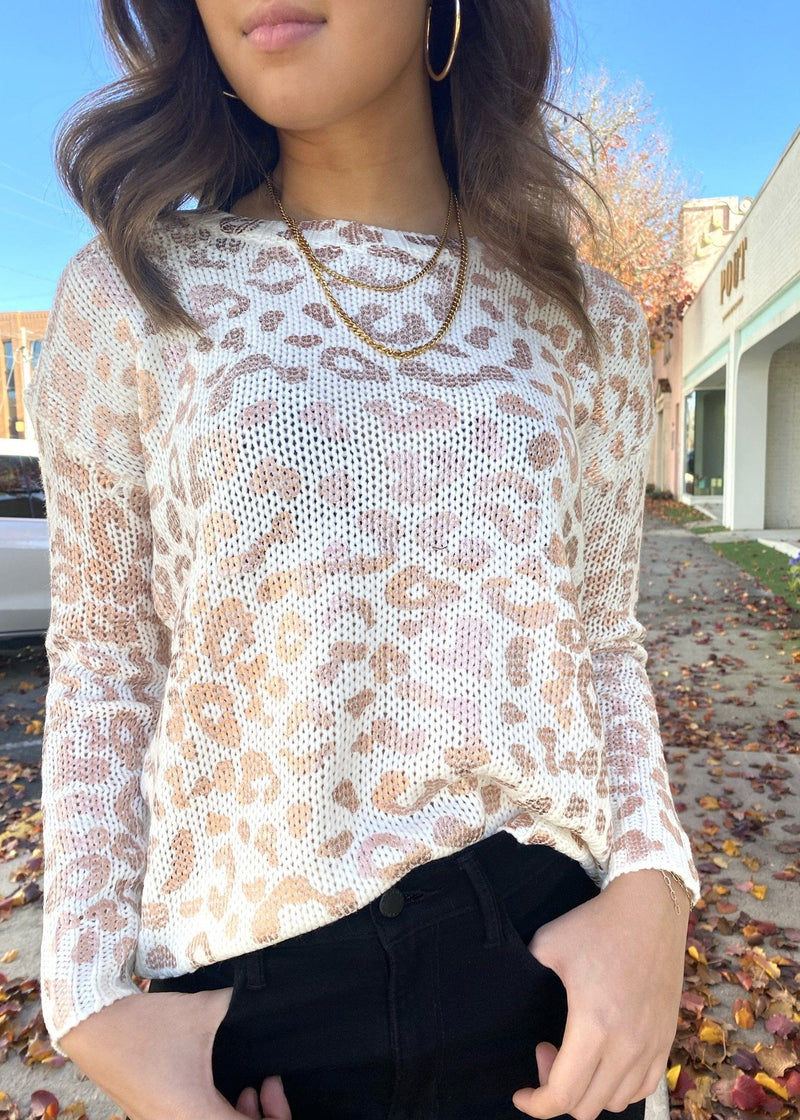 Sequins Leopard Sweater Tops