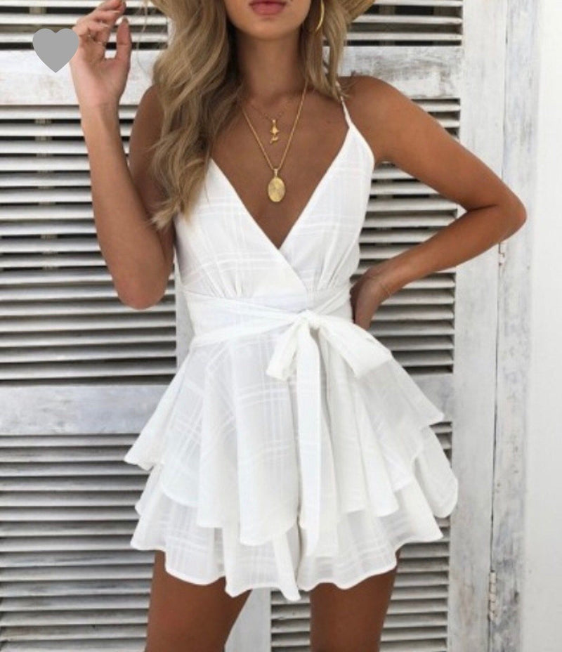 Talk To The Sand Romper Dresses