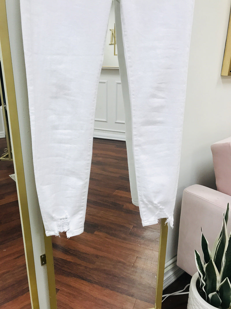 White Skinnies Distressed Hem Bottoms