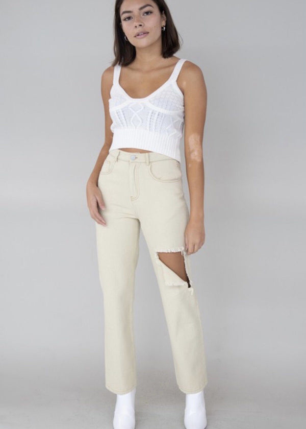 Whitney Distressed Pant Bottoms
