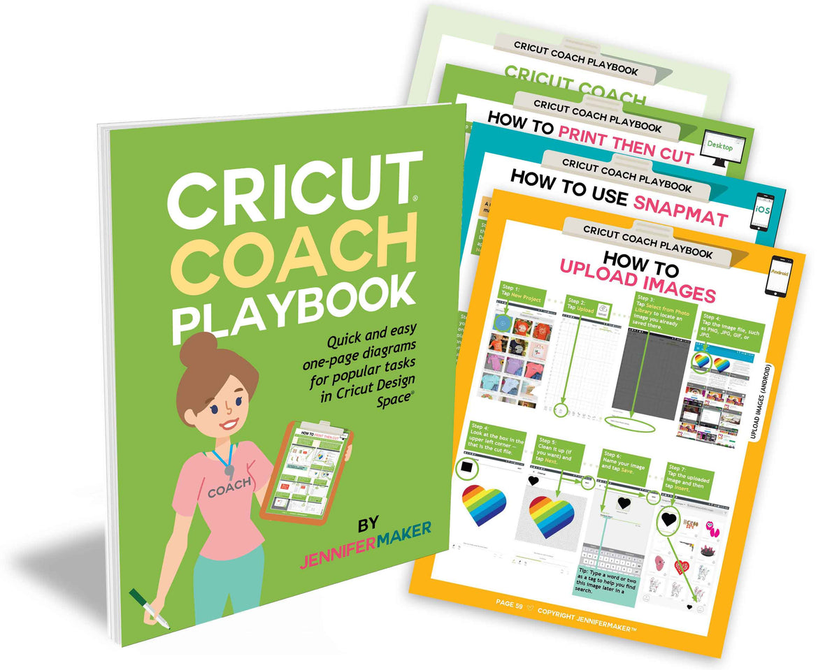 Cricut Coach Playbook: Quick and Easy One-Page Diagrams for Popular Tasks  in Cricut Design Space
