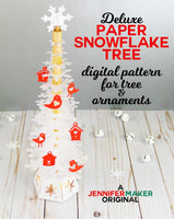 Deluxe Paper Snowflake Christmas Tree Luminary Pattern and SVG Cut Files