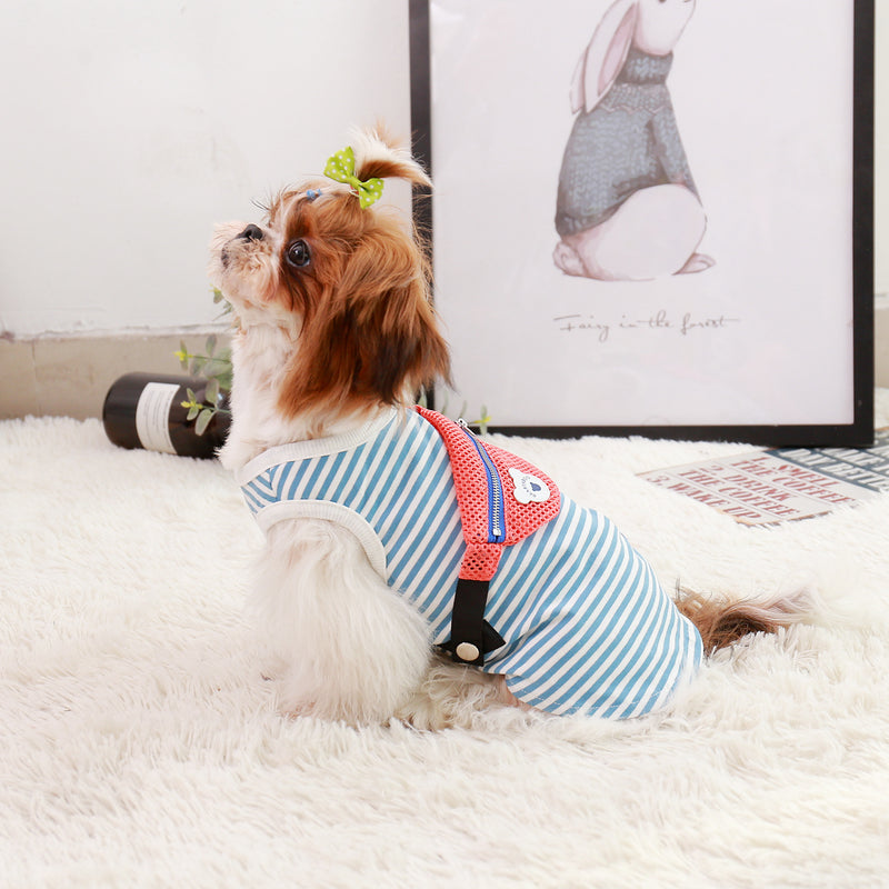 Pet Striped Vest Shirt with Cute Bag for Cats and Puppy