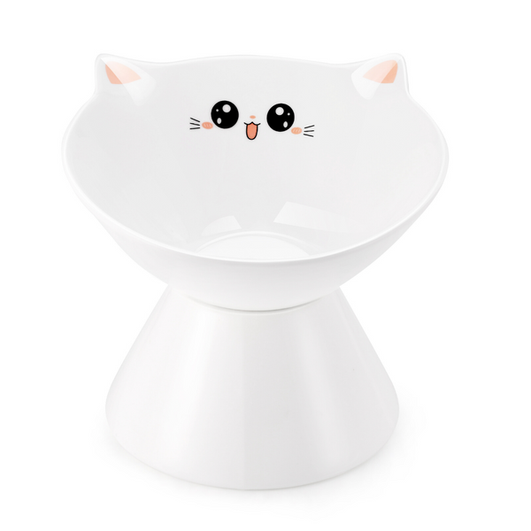 Lollimeow Ceramic Raised Cat Bowls, Elevated Food or Water Bowls, Stress Free