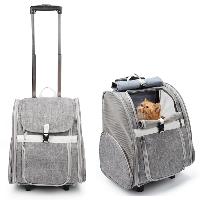 Pet Geometric Roller-Carrier Backpack Trolley