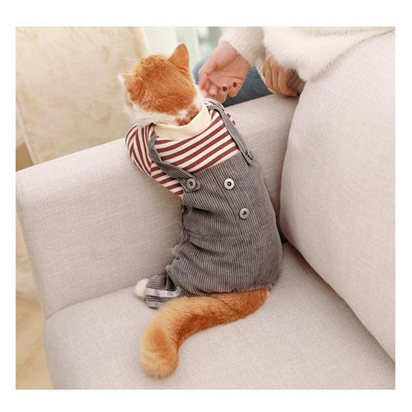 Cat Striped Clothes Cotton Vest Rompers Apparel for Cats Walm Design