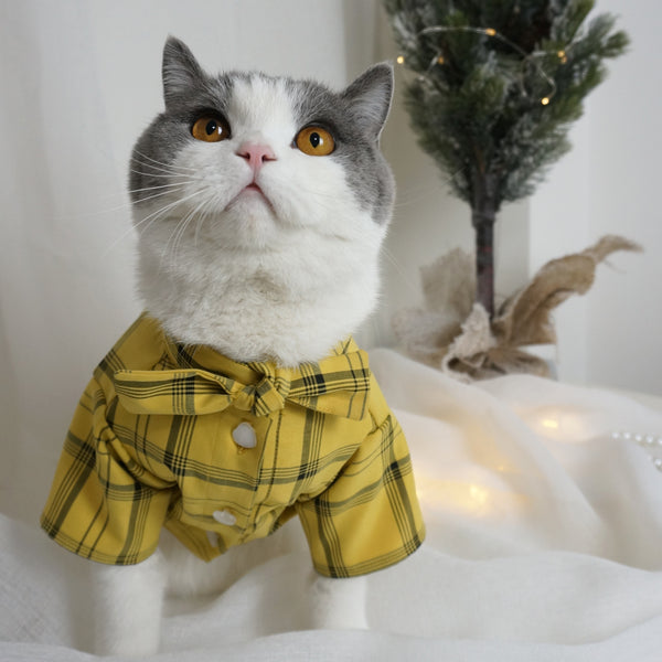 Cat Shirt, Pet Plaid Polo Clothes Shirt T-Shirt, Sweater Bottoming Shirt for Small Dog, Cat and Puppy