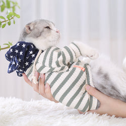 Cat Striped Clothes Cotton Vest Hooodies Basic Apparel for Cats