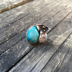 Sterling Silver Succulent + Turquoise Pin