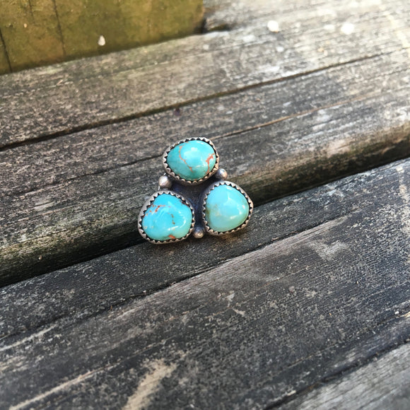 Triple Turquoise Combo + Sterling Silver Pin