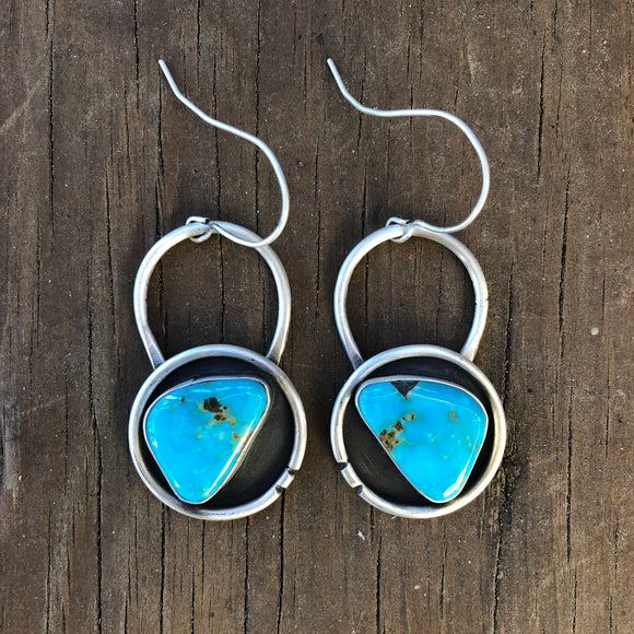 Kingman Turquoise + Sterling Silver Shadowbox Earrings