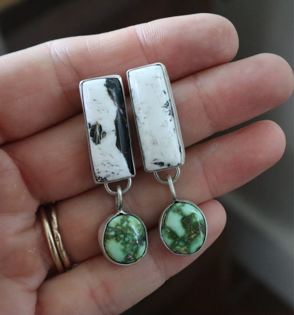 White Buffalo + Sonoran Gold Turquoise + Sterling Silver Earrings