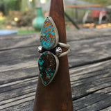 Natural Royston Turquoise + Sterling Silver Ring • Size 8.5