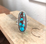 Egyptian Turquoise + Sterling Silver Ring • Size 7.5