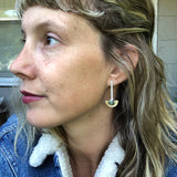 New Lander + Brass Half Moon Drop Earrings