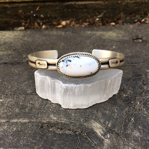 Natural White Buffalo + Sterling Silver Stacker Cuff