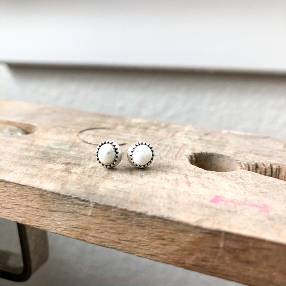 White Buffalo Stud Earrings