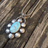 Natural Royston Turquoise + Sterling Silver Pendant