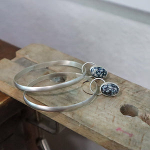 New Lander Variscite + Sterling Silver Post Hoop Earrings