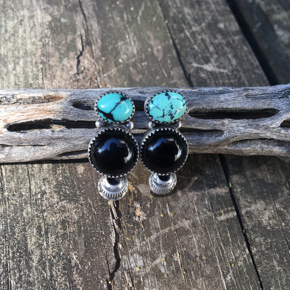 Kingman Turquoise + Onyx + Sterling Silver Earrings