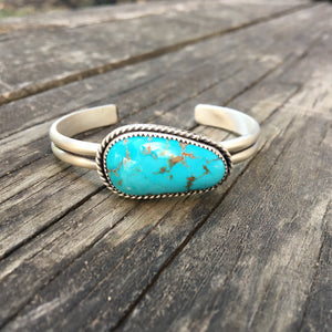 Pilot Mountain Turquoise + Sterling Silver Stacker Cuff