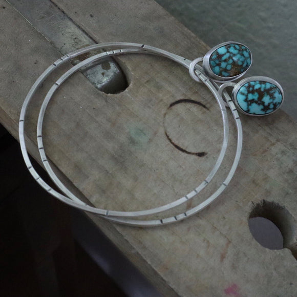 Turquoise Mountain Turquoise + Sterling Silver Post Hoop Earrings