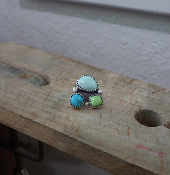 Mixed Mine Turquoise + Sterling Silver Pin