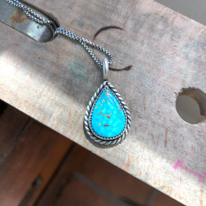 Turquoise Mountain Turquoise + Sterling Silver Pendant