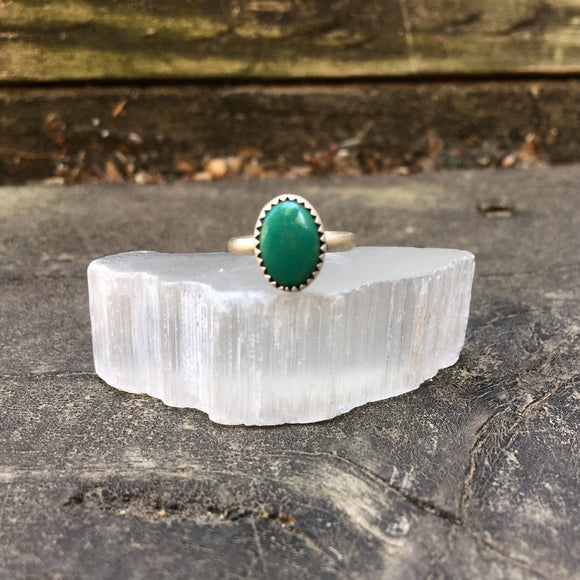 Turquoise + Sterling Turquoise Ring • Size 3