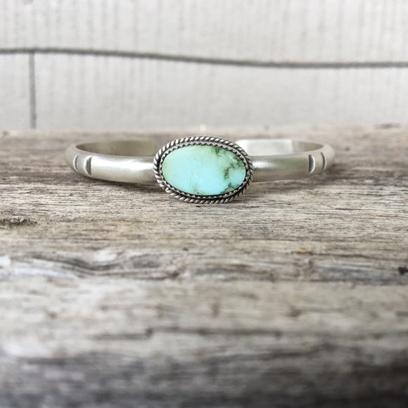 Turquoise Mountain Turquoise + Sterling Silver Stacker Cuff