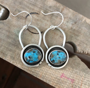 Natural Ithaca Peak Turquoise + Sterling Silver Shadow Earrings