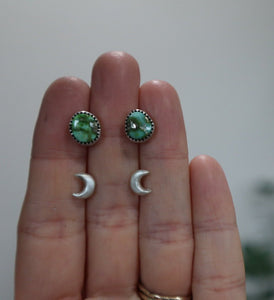 Sonoran Gold Turquoise Studs + Recycled Sterling Crescent Moon Studs