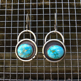 Turquoise Mountain Turquoise + Sterling Silver Shadowbox Earrings